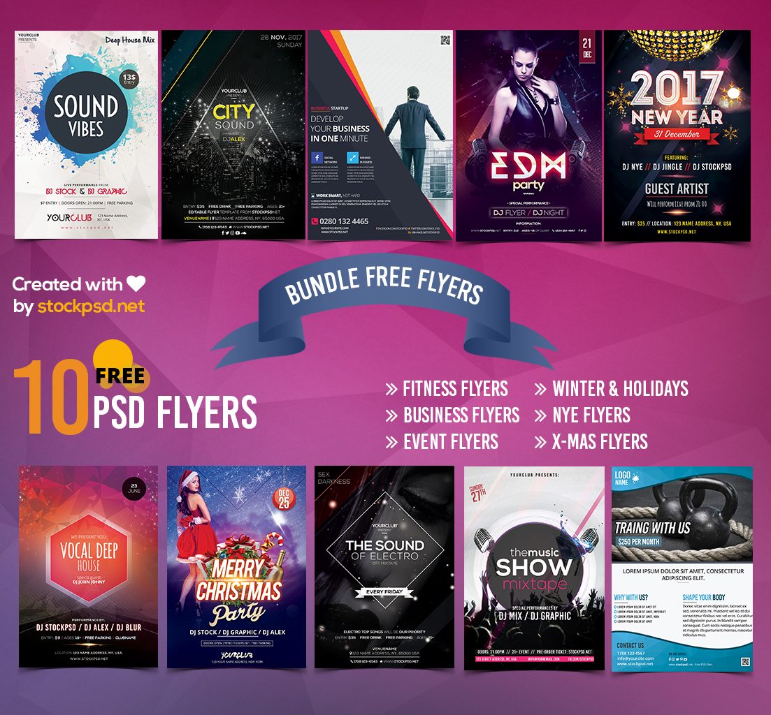 Free Fitness Gym Flyer Template Psd Files And Free Church: 10 FREE PSD Flyer Templates (Bundle)